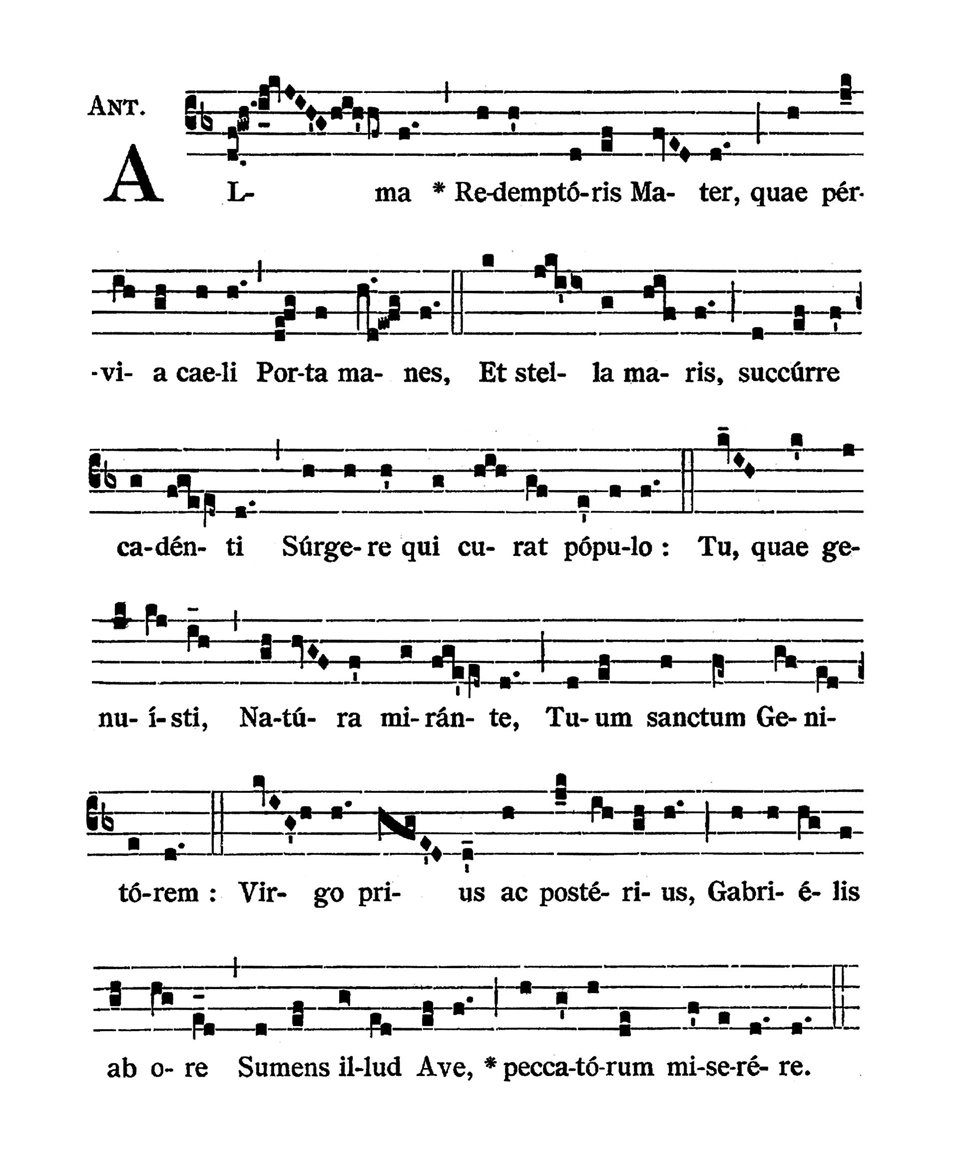 Alma Redemptoris Mater (tonus solemnis) - notacja