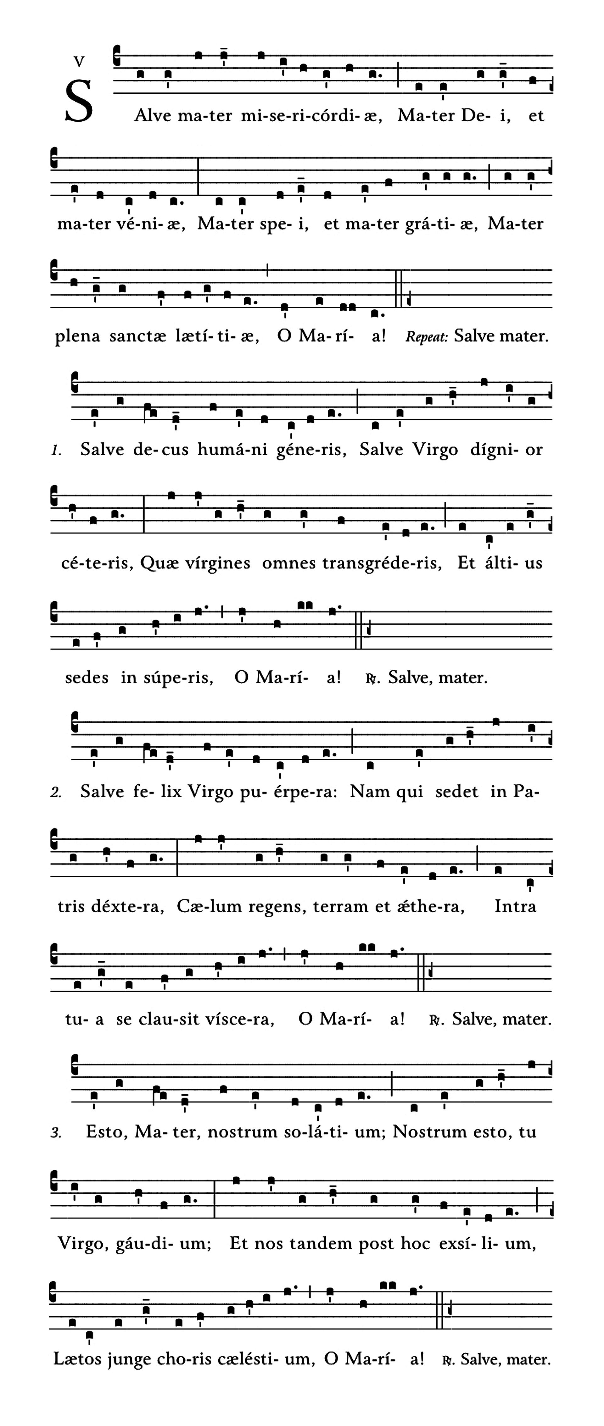 Salve Mater misericordiae - notacja