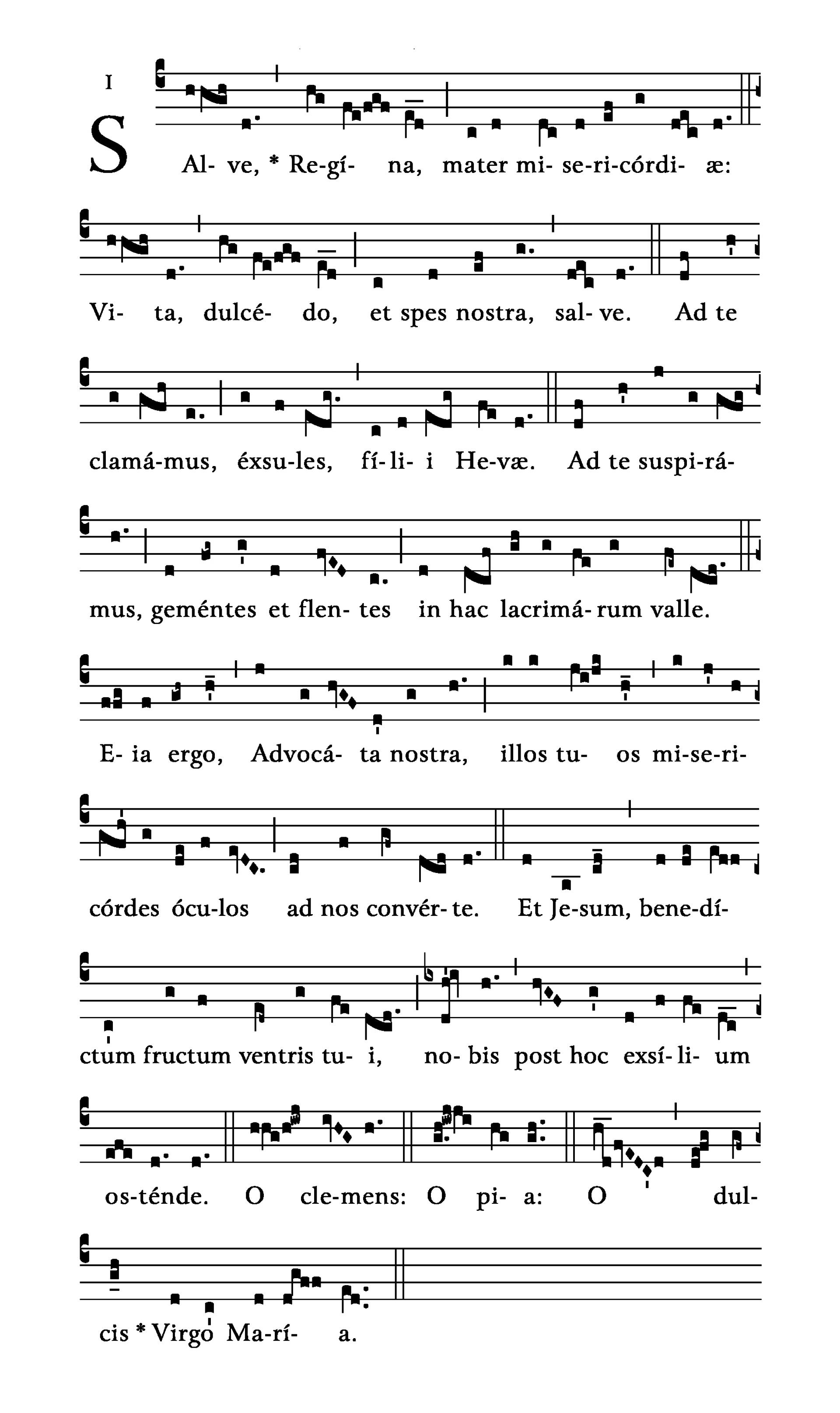 Salve Regina (tonus solemnis) - notacja