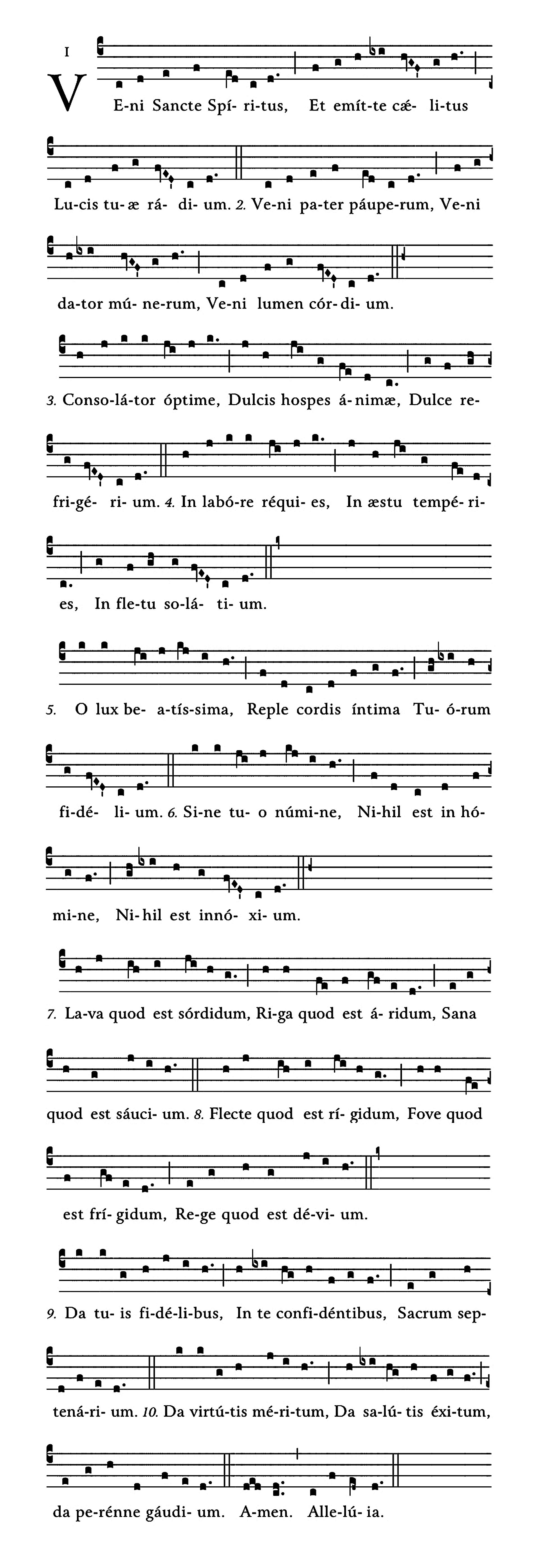 Veni Sancte Spiritus - notation
