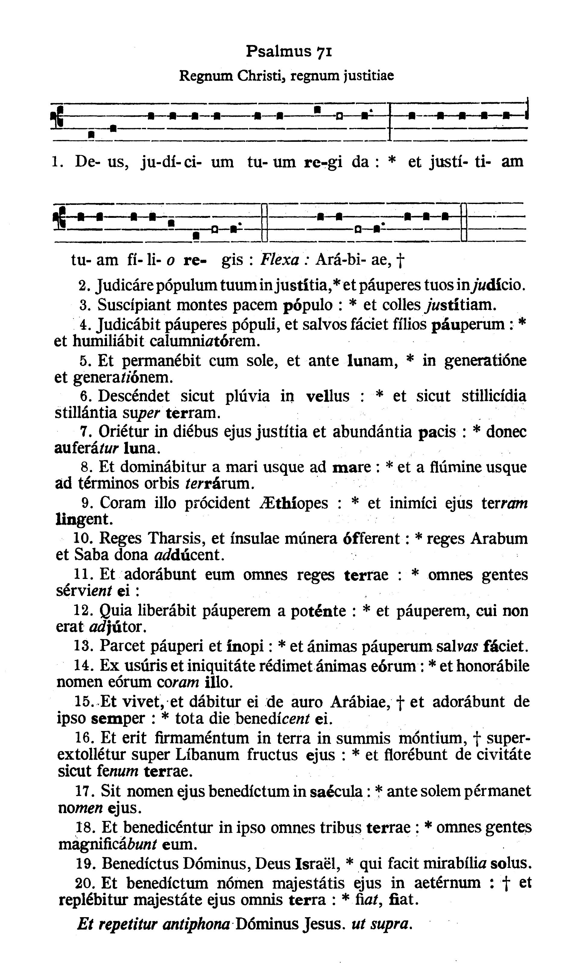 Feria V in Cena Domini (Holy Thursday) - Psalmus (Deus iudicium tuum regi da)