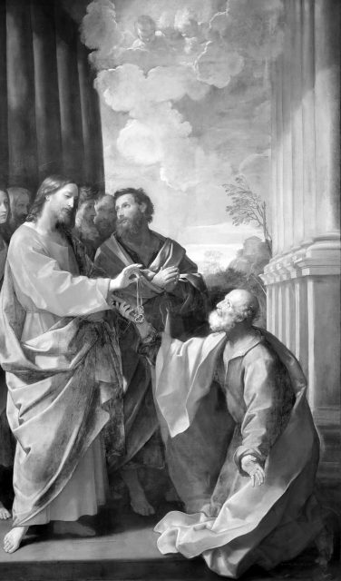 Jesus gives Saint Peter the keys of the Catholic Church