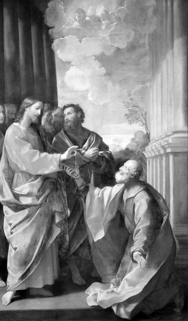 Jezus daje świętemu Piotrowi klucze Kościoła Katolickiego