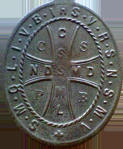 Medalik św. Benedykta prawdziwy (rewers)