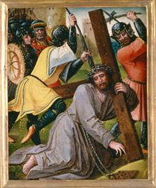 Iesus Christus, morte condemnatus, Calvariae locum, crucem baiulans, petit