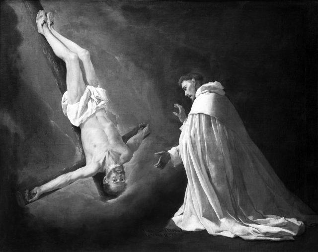 Święty Piotr ukrzyżowany w wizji świętego Piotra Nolasco