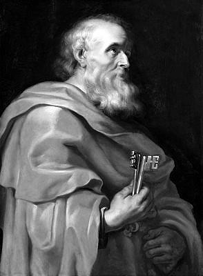 Święty Piotr naucza z mocą papieską